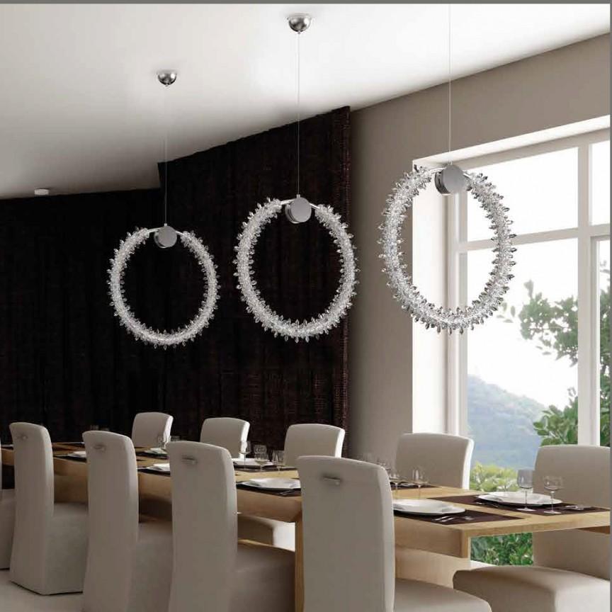 Lustra LED moderna design LUX cristal SPARKLING FROST 55cm, Lustre LED, Pendule LED, Corpuri de iluminat, lustre, aplice, veioze, lampadare, plafoniere. Mobilier si decoratiuni, oglinzi, scaune, fotolii. Oferte speciale iluminat interior si exterior. Livram in toata tara.  a