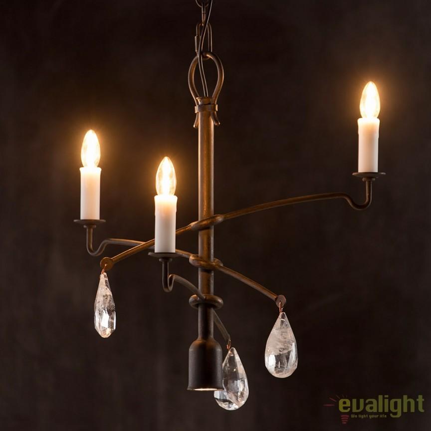 Candelabru impresionant din fier forjat si cristal de stanca HL 2637, Lustre, Candelabre Fier Forjat,  a