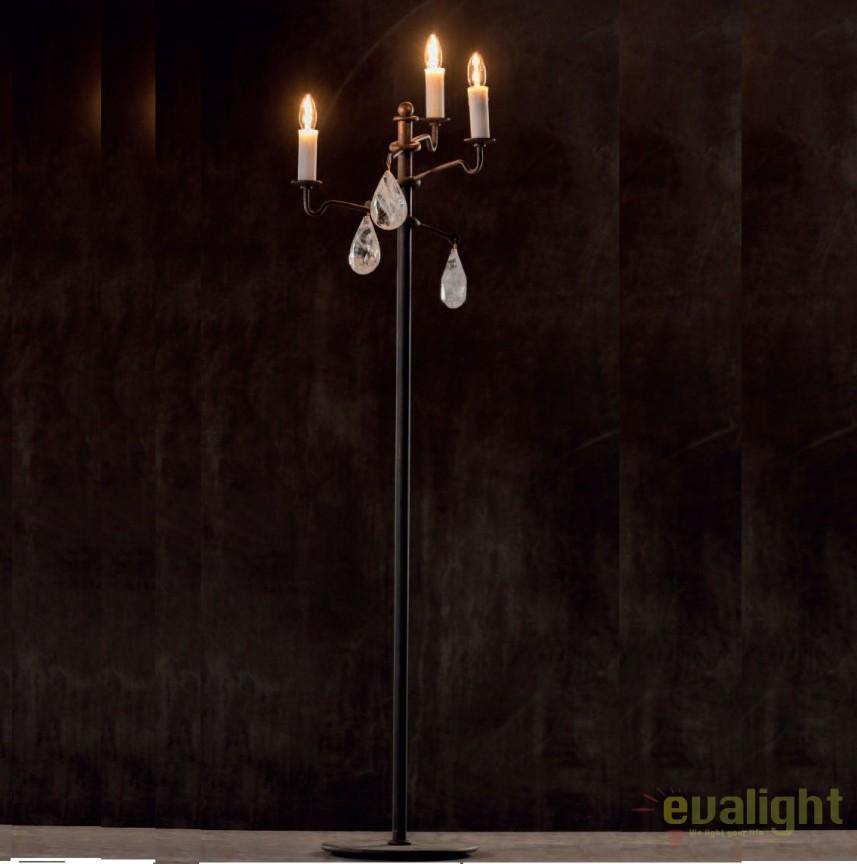 Lampadar impresionant din fier forjat si cristal de stanca SL 111, Veioze, Lampadare Fier Forjat, Corpuri de iluminat, lustre, aplice, veioze, lampadare, plafoniere. Mobilier si decoratiuni, oglinzi, scaune, fotolii. Oferte speciale iluminat interior si exterior. Livram in toata tara.  a