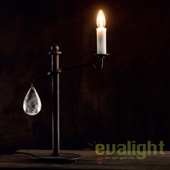 Lampa de masa din fier forjat si cristal de stanca TL 4103, Veioze, Lampadare Fier Forjat, Corpuri de iluminat, lustre, aplice, veioze, lampadare, plafoniere. Mobilier si decoratiuni, oglinzi, scaune, fotolii. Oferte speciale iluminat interior si exterior. Livram in toata tara.  a