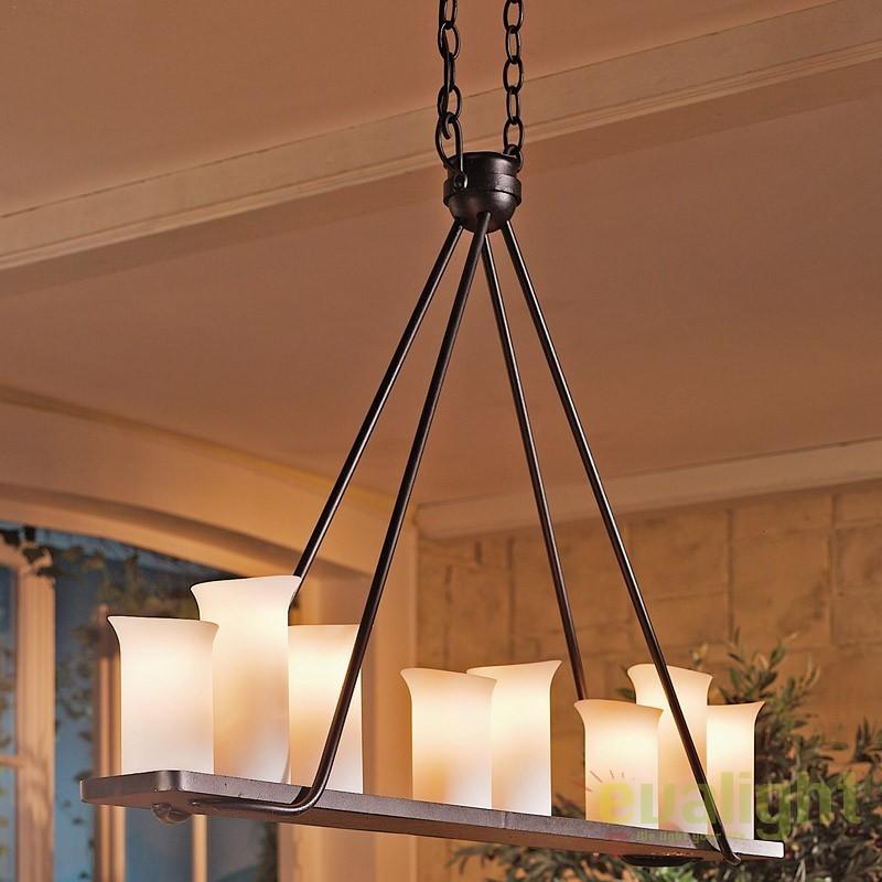 Lustra din fier forjat cu 8 surse de lumina ideala pentru iluminatul mesei, HL 2430, Lustre, Candelabre Fier Forjat,  a