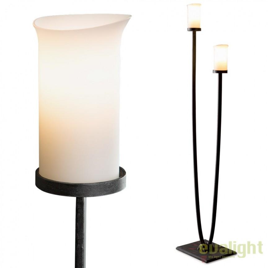 Lampa de podea din fier forjat cu 2 brate design torta SL 105, Veioze, Lampadare Fier Forjat, Corpuri de iluminat, lustre, aplice, veioze, lampadare, plafoniere. Mobilier si decoratiuni, oglinzi, scaune, fotolii. Oferte speciale iluminat interior si exterior. Livram in toata tara.  a