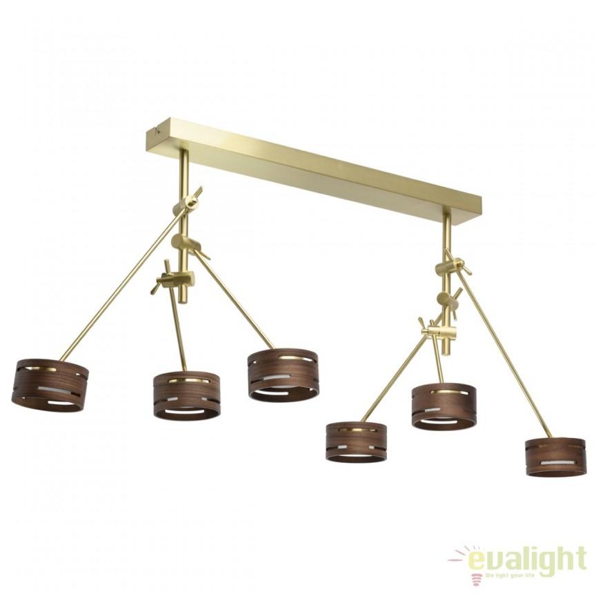 Lustra modern LED cu 6 brate directionabile REGEN 100cm, auriu satinat 725010406 MW, Cele mai noi produse 2018 a
