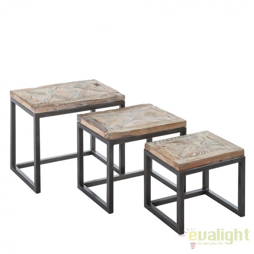 Set de 3 masute design industrial-vintage din lemn de mango reciclat si metal, Sonia SX-94442, Masute de cafea, Corpuri de iluminat, lustre, aplice, veioze, lampadare, plafoniere. Mobilier si decoratiuni, oglinzi, scaune, fotolii. Oferte speciale iluminat interior si exterior. Livram in toata tara.  a