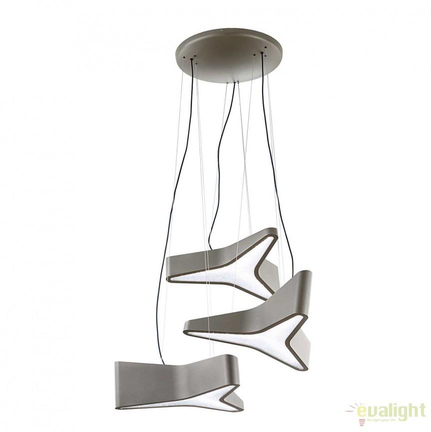 Lustra cu 3 pendule, design LUX cristal Swarovski Trimini, LED 3000K SBT130E-GY1S-Glimmer Gray, Magazin, Corpuri de iluminat, lustre, aplice, veioze, lampadare, plafoniere. Mobilier si decoratiuni, oglinzi, scaune, fotolii. Oferte speciale iluminat interior si exterior. Livram in toata tara.  a