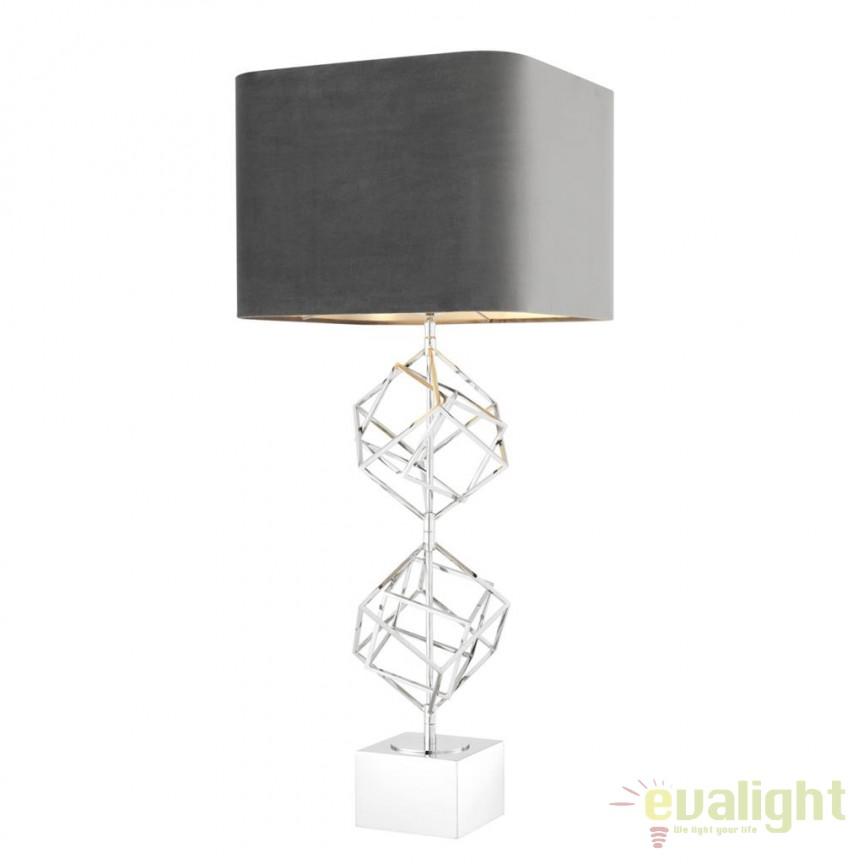 Veioza design LUX Matrix nickel 112144 HZ, Veioze, Lampi de masa, Corpuri de iluminat, lustre, aplice, veioze, lampadare, plafoniere. Mobilier si decoratiuni, oglinzi, scaune, fotolii. Oferte speciale iluminat interior si exterior. Livram in toata tara.  a