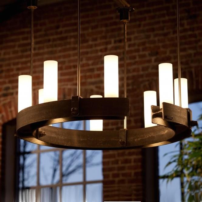 Candelabru din fier forjat cu 8 surse de lumina, design industrial HL 2548, Lustre, Candelabre Fier Forjat,  a