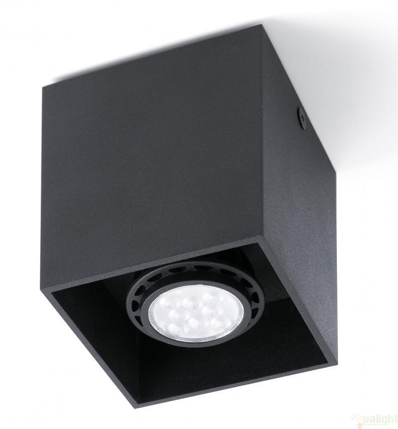 Plafonier negru cu 1 spot  cu design modern, TECTO-1 63271 Faro Barcelona , Spoturi incastrate, aplicate - tavan / perete, Corpuri de iluminat, lustre, aplice, veioze, lampadare, plafoniere. Mobilier si decoratiuni, oglinzi, scaune, fotolii. Oferte speciale iluminat interior si exterior. Livram in toata tara.  a