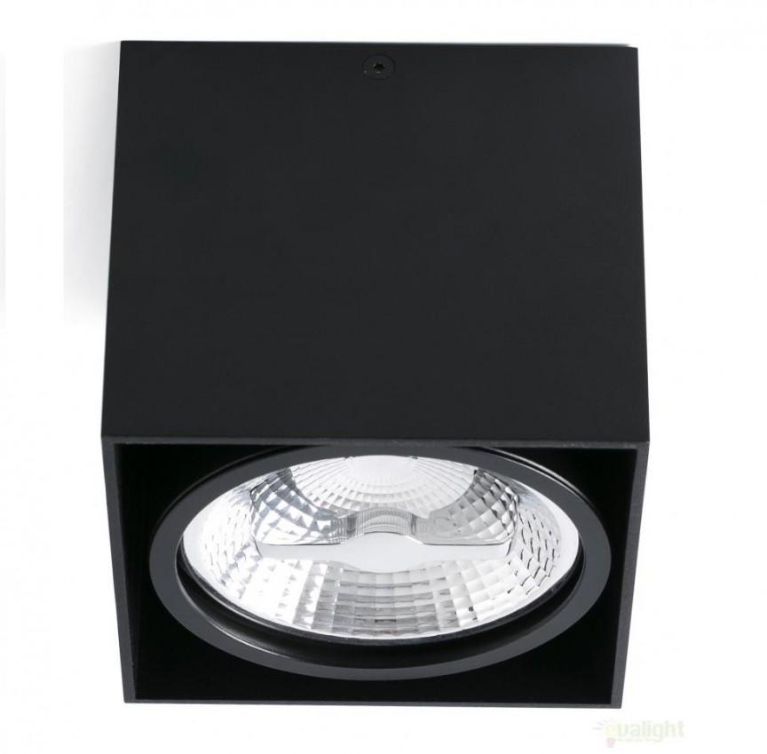 Plafonier cu 1 spot negru directionabil cu design modern, TECTO-1 63275 Faro Barcelona, Spoturi incastrate, aplicate - tavan / perete, Corpuri de iluminat, lustre, aplice a