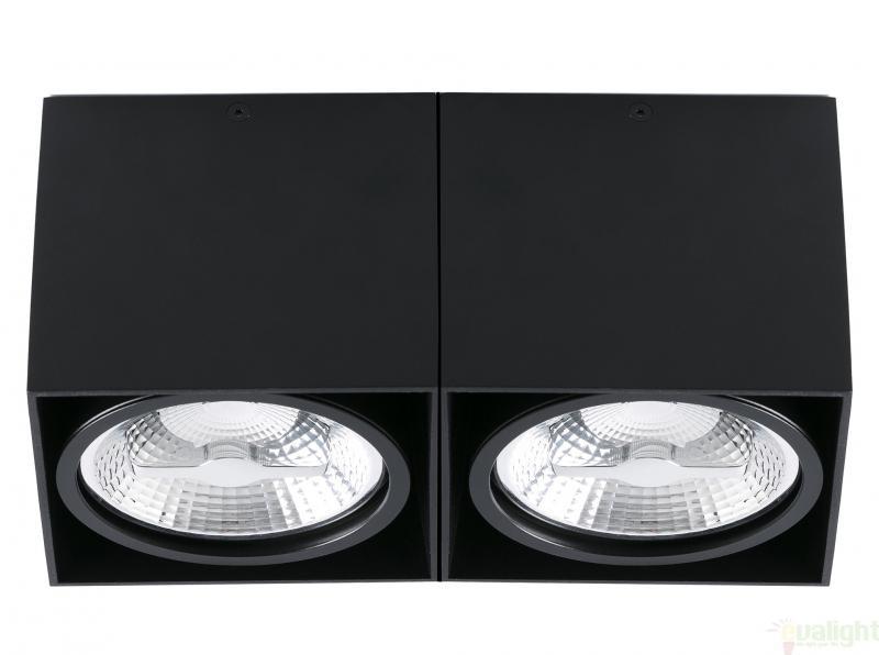 Plafonier negru cu 2 spoturi  directionabile cu design modern, TECTO-2 63277 Faro Barcelona , Spoturi incastrate, aplicate - tavan / perete, Corpuri de iluminat, lustre, aplice a