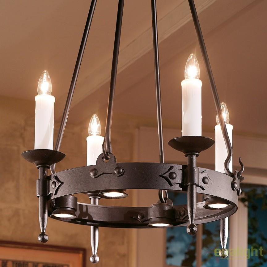 Lustra din fier forjat cu 4 surse de lumina design lumanare HL 2441-ST, Lustre, Candelabre Fier Forjat,  a