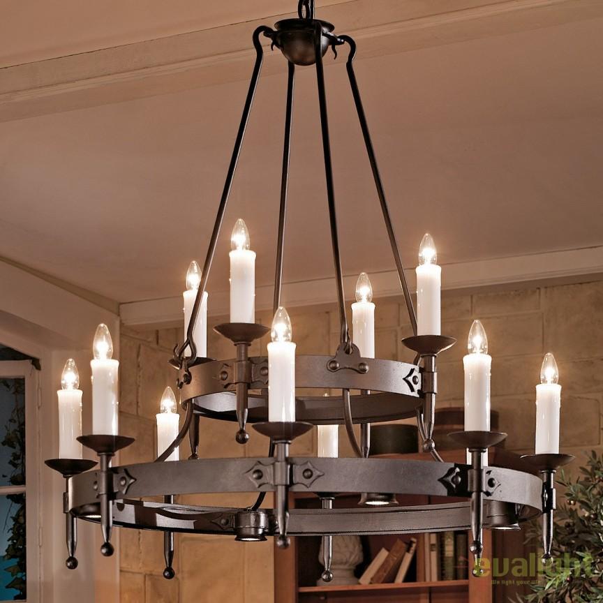 Lustra din fier forjat cu 12 surse de lumina design lumanare HL 2444-ST, Lustre, Candelabre Fier Forjat,  a