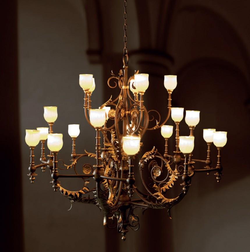 Candelabru deosebit din fier forjat, 20 de brate design clasic elegant HL 2594-N, Lustre, Candelabre Fier Forjat, Corpuri de iluminat, lustre, aplice, veioze, lampadare, plafoniere. Mobilier si decoratiuni, oglinzi, scaune, fotolii. Oferte speciale iluminat interior si exterior. Livram in toata tara.  a