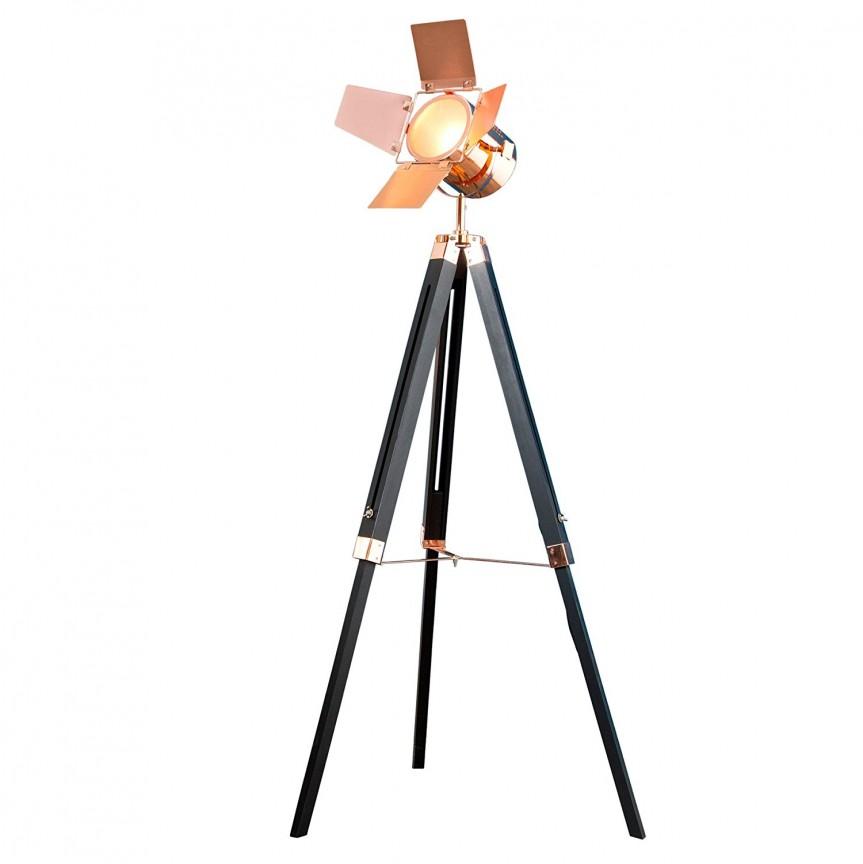 Lampadar cu trepied stil retro-industrial style Hollywood cupru A-36846 VC, Outlet, Corpuri de iluminat, lustre, aplice, veioze, lampadare, plafoniere. Mobilier si decoratiuni, oglinzi, scaune, fotolii. Oferte speciale iluminat interior si exterior. Livram in toata tara.  a