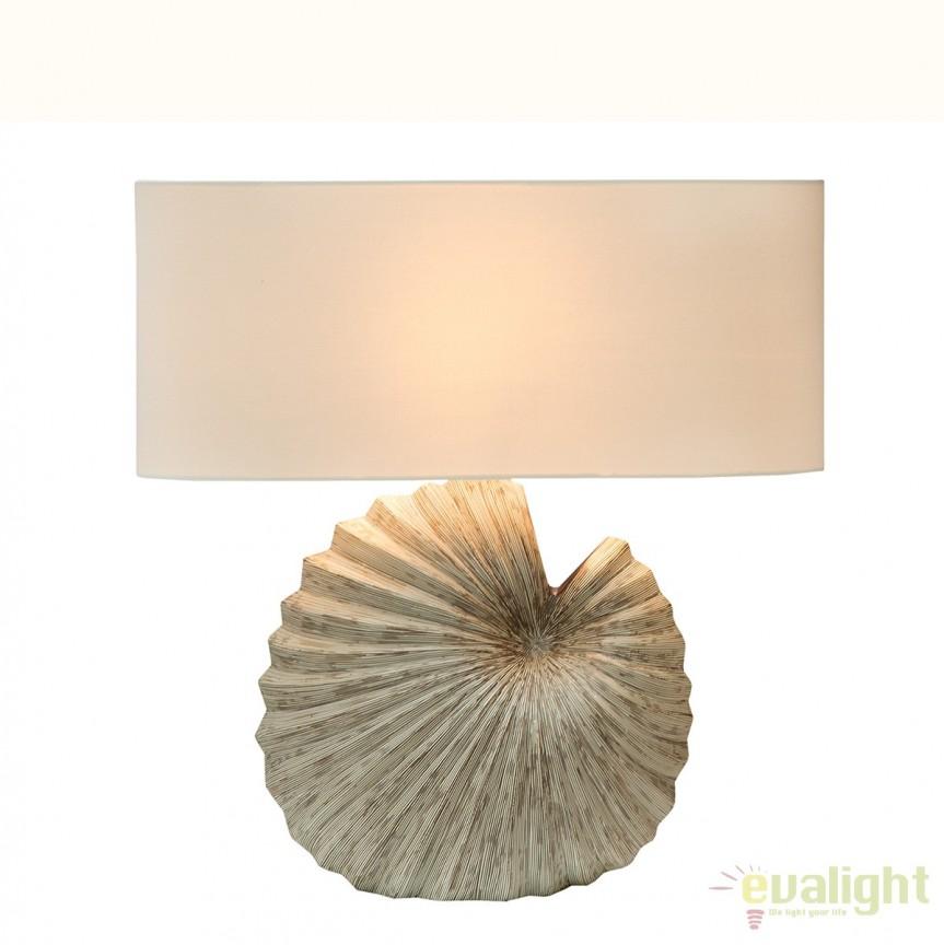 Veioza eleganta cu baza din ceramica Muschel A-38510 VC, Veioze, Lampi de masa, Corpuri de iluminat, lustre, aplice, veioze, lampadare, plafoniere. Mobilier si decoratiuni, oglinzi, scaune, fotolii. Oferte speciale iluminat interior si exterior. Livram in toata tara.  a