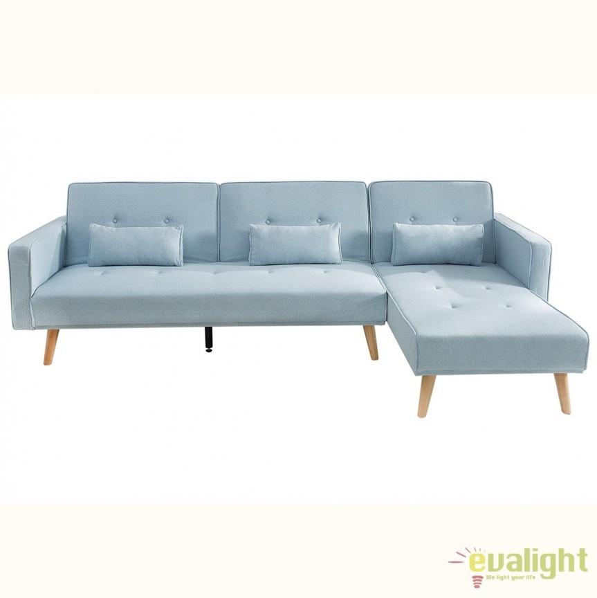 Coltar extensibil Nordic 265cm, albastru pastel A-38537 VC, Canapele - Coltare, Corpuri de iluminat, lustre, aplice, veioze, lampadare, plafoniere. Mobilier si decoratiuni, oglinzi, scaune, fotolii. Oferte speciale iluminat interior si exterior. Livram in toata tara.  a