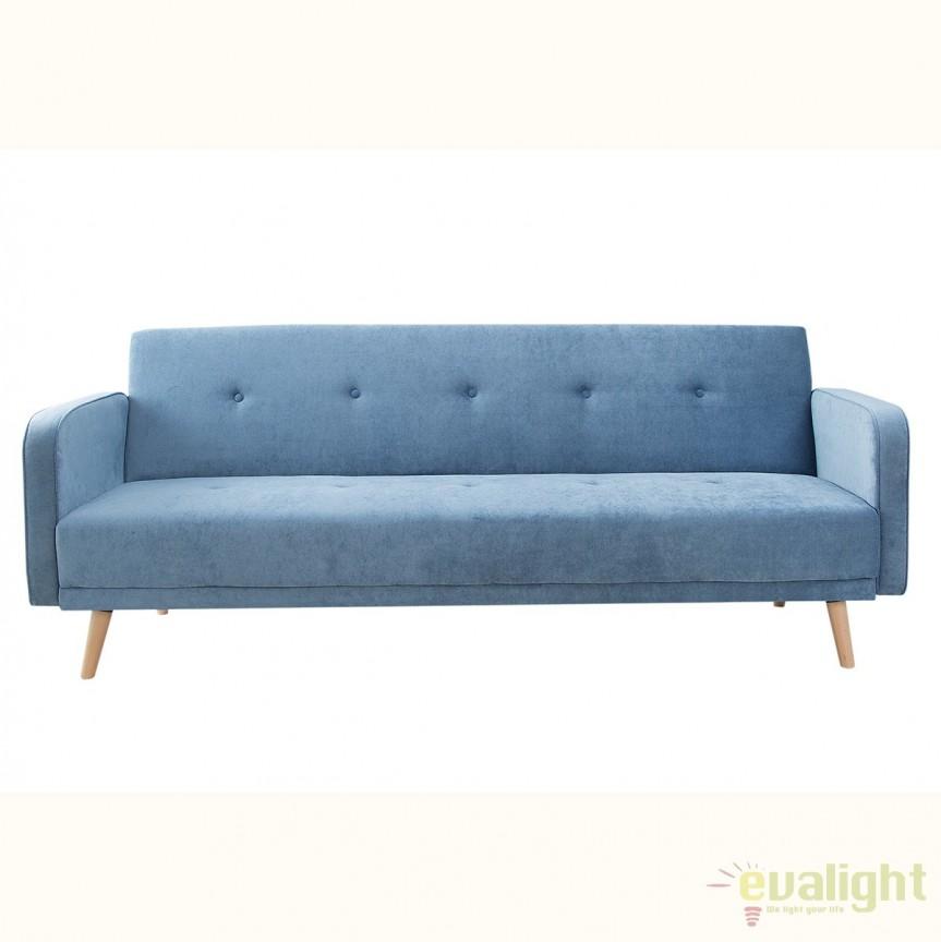 Canapea extensibila Scandinavia 210cm, albastru A-38441 VC, Canapele - Coltare, Corpuri de iluminat, lustre, aplice, veioze, lampadare, plafoniere. Mobilier si decoratiuni, oglinzi, scaune, fotolii. Oferte speciale iluminat interior si exterior. Livram in toata tara.  a