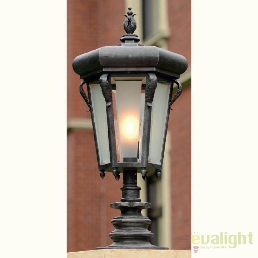 Stalp iluminat exterior din fier forjat, inaltime 86,2cm, AL 6781, ILUMINAT FIER FORJAT DE LUX , Corpuri de iluminat, lustre, aplice, veioze, lampadare, plafoniere. Mobilier si decoratiuni, oglinzi, scaune, fotolii. Oferte speciale iluminat interior si exterior. Livram in toata tara.  a
