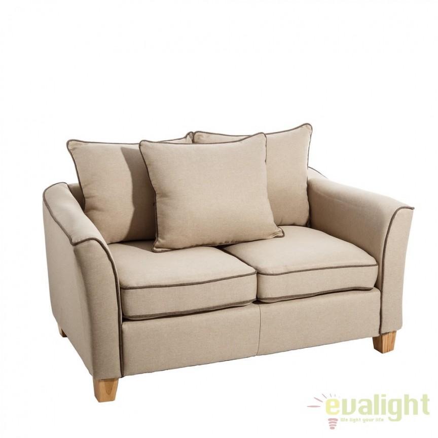 Canapea confortabila cu 2 locuri, Luise, bej SX-101220, Canapele - Coltare, Corpuri de iluminat, lustre, aplice, veioze, lampadare, plafoniere. Mobilier si decoratiuni, oglinzi, scaune, fotolii. Oferte speciale iluminat interior si exterior. Livram in toata tara.  a