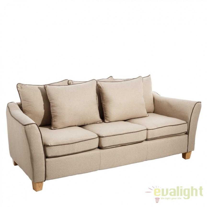Canapea confortabila cu 3 locuri, Luise, bej SX-101221, Canapele - Coltare, Corpuri de iluminat, lustre, aplice, veioze, lampadare, plafoniere. Mobilier si decoratiuni, oglinzi, scaune, fotolii. Oferte speciale iluminat interior si exterior. Livram in toata tara.  a