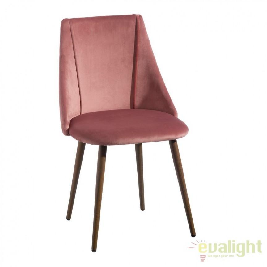 Set de 2 scaune elegante cu tapiterie din catifea Arnulfe, roz SX-103769, Seturi scaune dining, scaune HoReCa, Corpuri de iluminat, lustre, aplice, veioze, lampadare, plafoniere. Mobilier si decoratiuni, oglinzi, scaune, fotolii. Oferte speciale iluminat interior si exterior. Livram in toata tara.  a