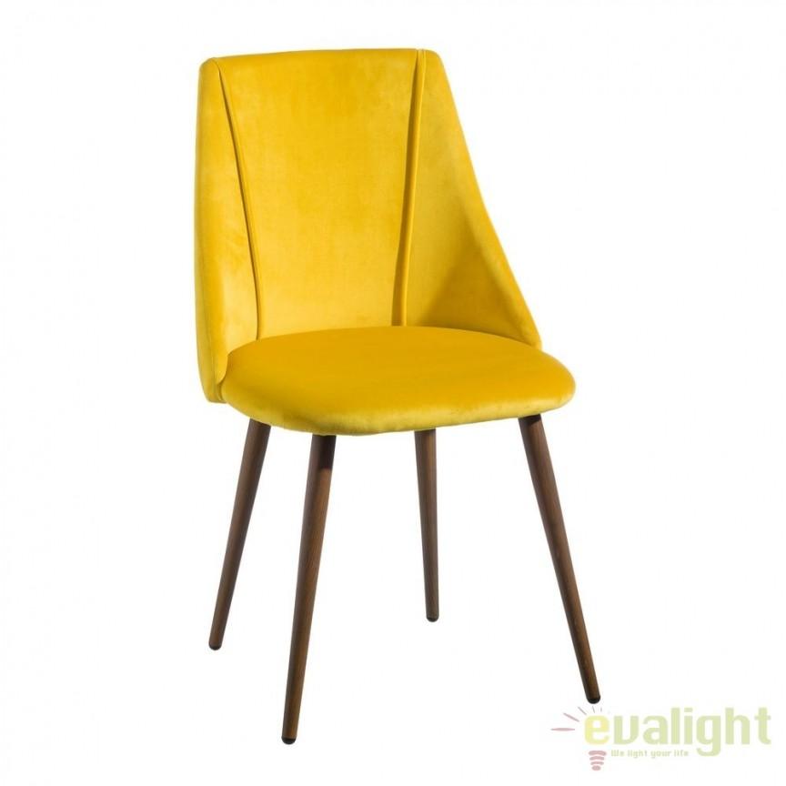 Set de 2 scaune elegante cu tapiterie din catifea Arnulfe, galben SX-103769, Seturi scaune dining, scaune HoReCa, Corpuri de iluminat, lustre, aplice, veioze, lampadare, plafoniere. Mobilier si decoratiuni, oglinzi, scaune, fotolii. Oferte speciale iluminat interior si exterior. Livram in toata tara.  a
