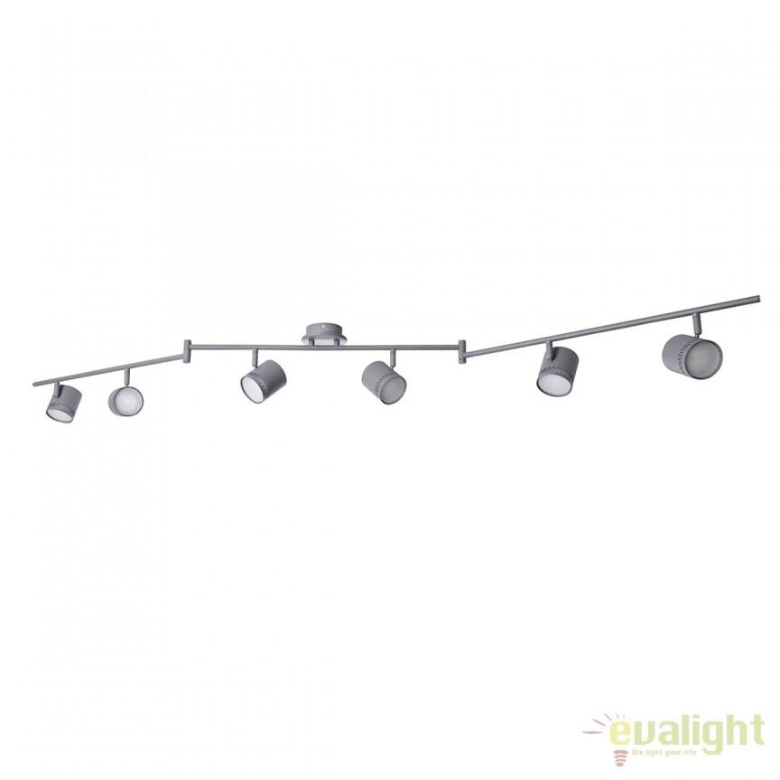 Lustra LED cu 6 spoturi directionabile Cavi gri inchis G73106/22 BL, Spoturi - iluminat - cu 5 si 6 spoturi, Corpuri de iluminat, lustre, aplice, veioze, lampadare, plafoniere. Mobilier si decoratiuni, oglinzi, scaune, fotolii. Oferte speciale iluminat interior si exterior. Livram in toata tara.  a