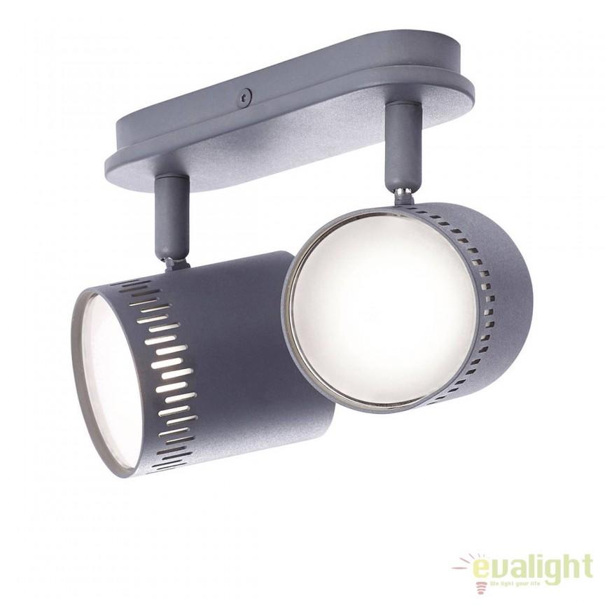 Plafoniera LED cu 2 spoturi directionabile Cavi gri inchis G73129/22 BL, Spoturi - iluminat - cu 2 spoturi, Corpuri de iluminat, lustre, aplice, veioze, lampadare, plafoniere. Mobilier si decoratiuni, oglinzi, scaune, fotolii. Oferte speciale iluminat interior si exterior. Livram in toata tara.  a