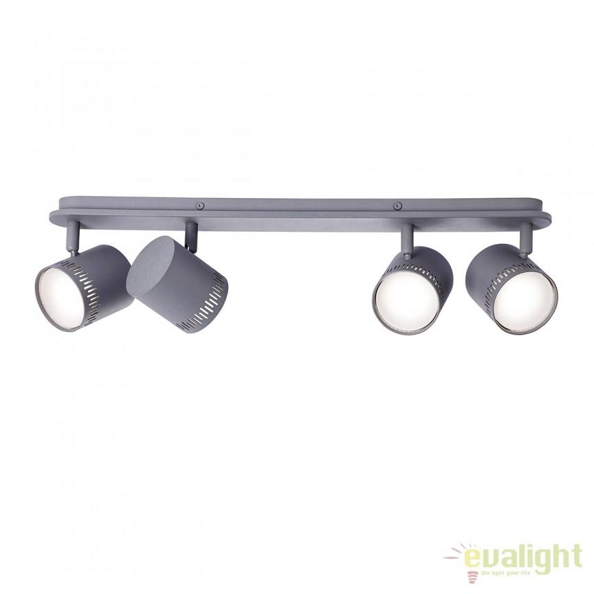 Plafoniera LED cu 4 spoturi directionabile Cavi gri inchis G73144/22 BL, Spoturi - iluminat - cu 4 spoturi, Corpuri de iluminat, lustre, aplice, veioze, lampadare, plafoniere. Mobilier si decoratiuni, oglinzi, scaune, fotolii. Oferte speciale iluminat interior si exterior. Livram in toata tara.  a