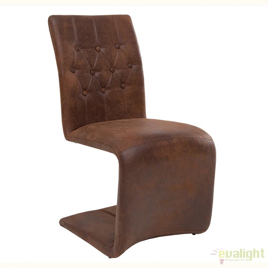 Set de 2 scaune elegante cu tapiterie din microfibra Victorian, maro vintage A-38093 VC, Seturi scaune dining, scaune HoReCa, Corpuri de iluminat, lustre, aplice, veioze, lampadare, plafoniere. Mobilier si decoratiuni, oglinzi, scaune, fotolii. Oferte speciale iluminat interior si exterior. Livram in toata tara.  a