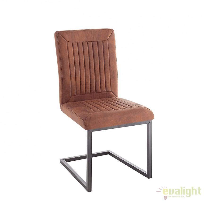 Set de 4 scaune design industrial vintage cu tapiterie din microfibra Bristol, maro deschis A-38340 VC, Seturi scaune dining, scaune HoReCa, Corpuri de iluminat, lustre, aplice, veioze, lampadare, plafoniere. Mobilier si decoratiuni, oglinzi, scaune, fotolii. Oferte speciale iluminat interior si exterior. Livram in toata tara.  a