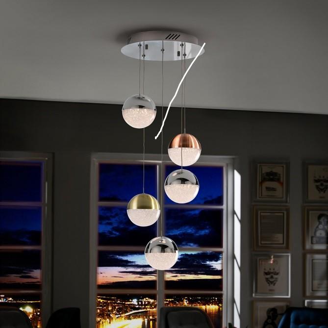 Lustra LED cu 5 pendule design modern Sphere SV-793534, Lustre LED, Pendule LED, Corpuri de iluminat, lustre, aplice, veioze, lampadare, plafoniere. Mobilier si decoratiuni, oglinzi, scaune, fotolii. Oferte speciale iluminat interior si exterior. Livram in toata tara.  a
