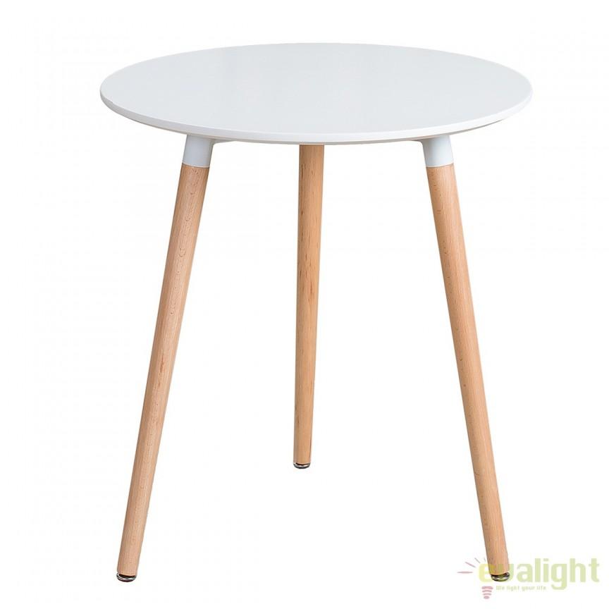 Masa bistro, rotunda, design nordic Scandinavia 60cm, alb A-38388 VC, Mese dining, Corpuri de iluminat, lustre, aplice, veioze, lampadare, plafoniere. Mobilier si decoratiuni, oglinzi, scaune, fotolii. Oferte speciale iluminat interior si exterior. Livram in toata tara.  a