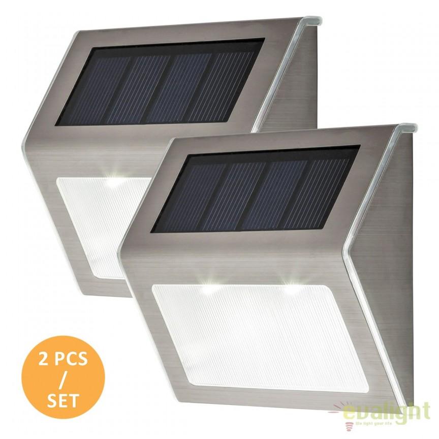 Set de 2 Aplice solare Led IP44 Santiago 8784 Rx, Aplice de perete LED, Corpuri de iluminat, lustre, aplice, veioze, lampadare, plafoniere. Mobilier si decoratiuni, oglinzi, scaune, fotolii. Oferte speciale iluminat interior si exterior. Livram in toata tara.  a