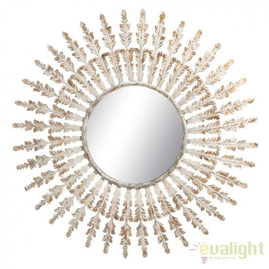 Oglinda de perete rotunda design vintage din metal finisaj antichizat ORO-BLANCO, 97cm SX-103873, Oglinzi decorative, Corpuri de iluminat, lustre, aplice, veioze, lampadare, plafoniere. Mobilier si decoratiuni, oglinzi, scaune, fotolii. Oferte speciale iluminat interior si exterior. Livram in toata tara.  a