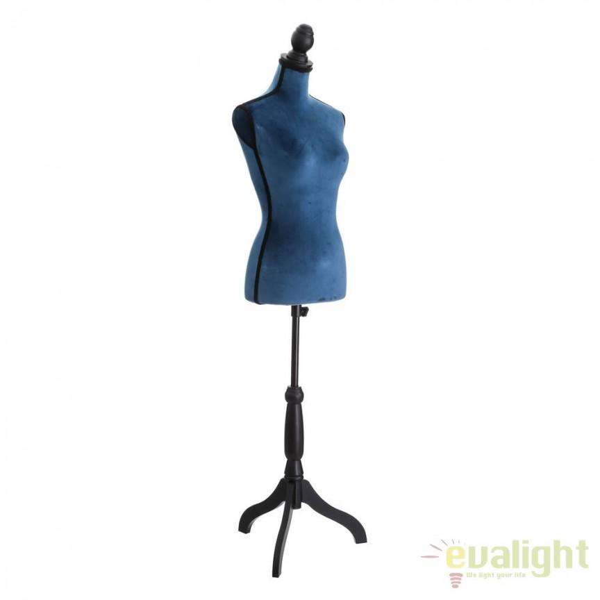 Manechin decorativ cu picior din lemn si bust din fibra de sticla imbracat in catifea Haute Couture, albastru SX-104952, Mobilier divers, Corpuri de iluminat, lustre, aplice, veioze, lampadare, plafoniere. Mobilier si decoratiuni, oglinzi, scaune, fotolii. Oferte speciale iluminat interior si exterior. Livram in toata tara.  a