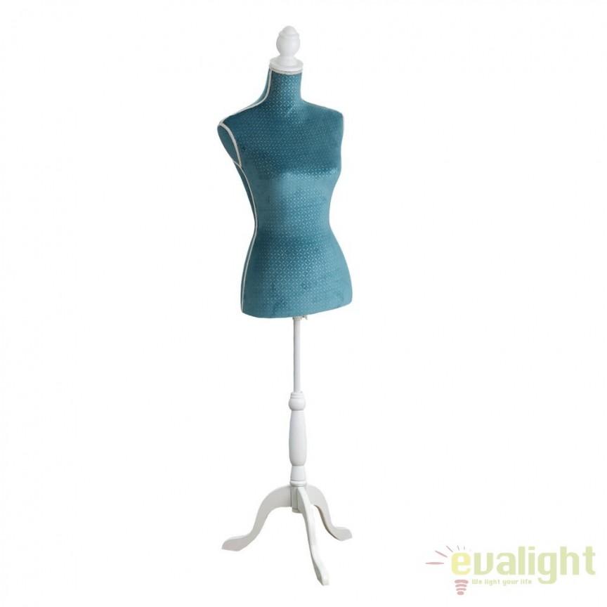 Manechin decorativ cu bust din fibra de sticla imbracat in catifea Haute Couture, albastru/ alb SX-104813, Mobilier divers, Corpuri de iluminat, lustre, aplice, veioze, lampadare, plafoniere. Mobilier si decoratiuni, oglinzi, scaune, fotolii. Oferte speciale iluminat interior si exterior. Livram in toata tara.  a