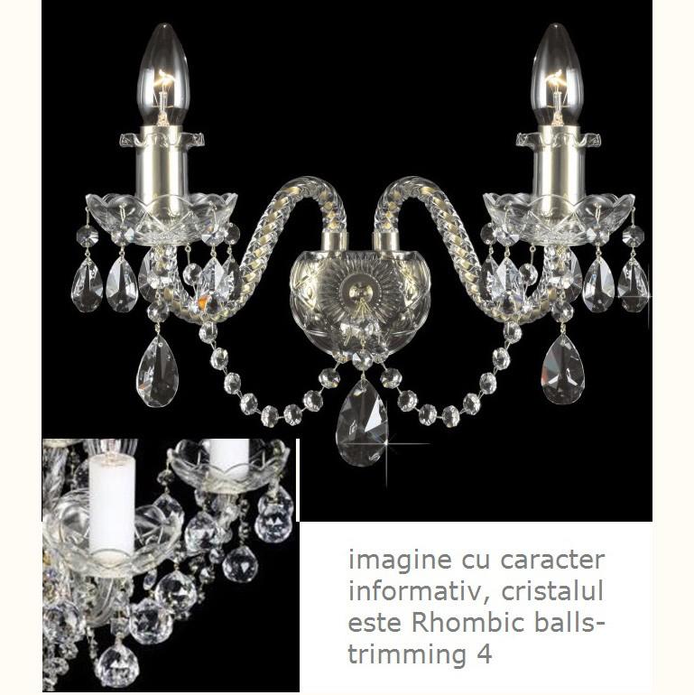 Aplica cristal Bohemia design LUX N21 009/ 02/4; GOLD, lip., Aplice Cristal Schonbek , Corpuri de iluminat, lustre, aplice, veioze, lampadare, plafoniere. Mobilier si decoratiuni, oglinzi, scaune, fotolii. Oferte speciale iluminat interior si exterior. Livram in toata tara.  a