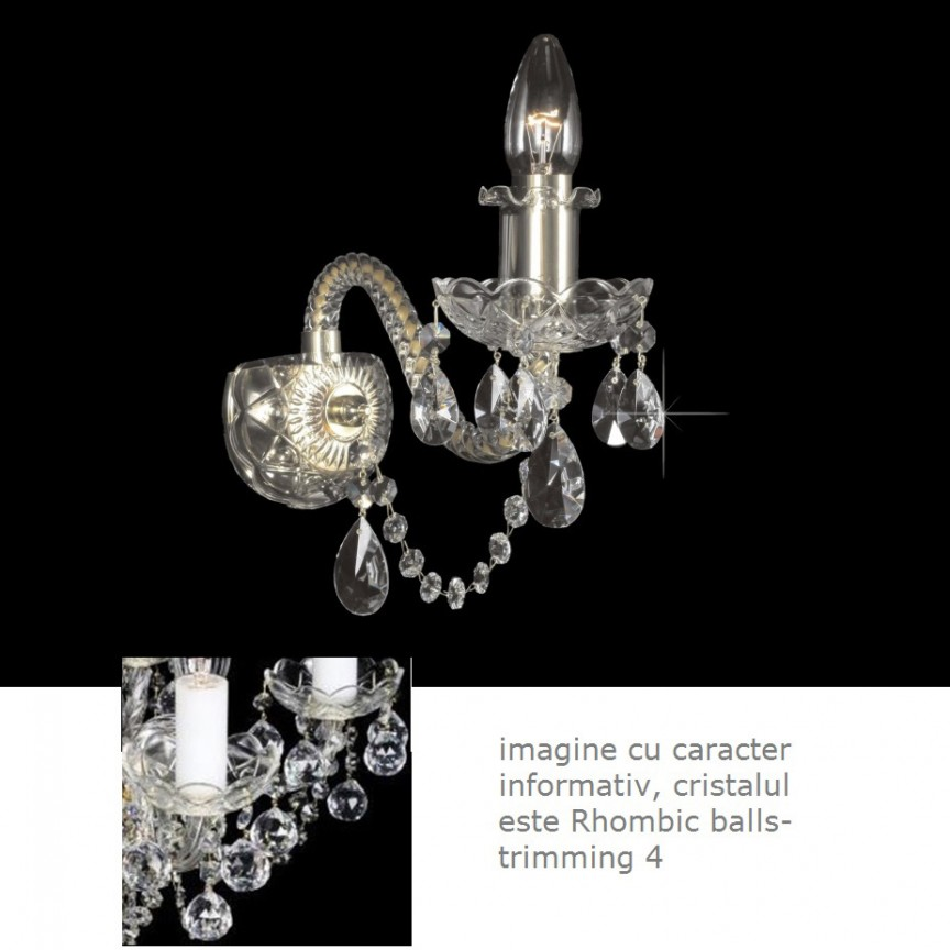 Aplica cristal Bohemia design LUX, N21 009/ 01/4; GOLD, lip., Aplice Cristal Bohemia, Corpuri de iluminat, lustre, aplice, veioze, lampadare, plafoniere. Mobilier si decoratiuni, oglinzi, scaune, fotolii. Oferte speciale iluminat interior si exterior. Livram in toata tara.  a