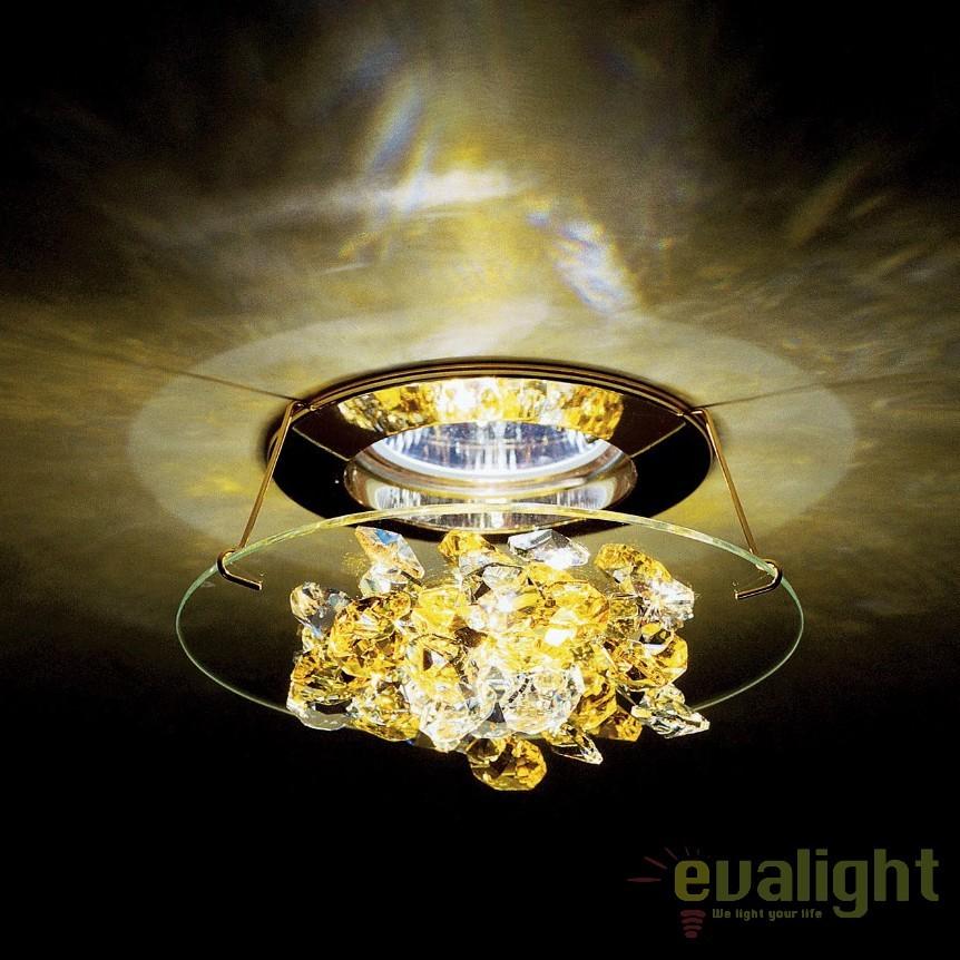 Spot incastrabil design LUX cristal Swarovski Light Topaz Ice SCE405, Spoturi tavan fals Cristal, Corpuri de iluminat, lustre, aplice, veioze, lampadare, plafoniere. Mobilier si decoratiuni, oglinzi, scaune, fotolii. Oferte speciale iluminat interior si exterior. Livram in toata tara.  a