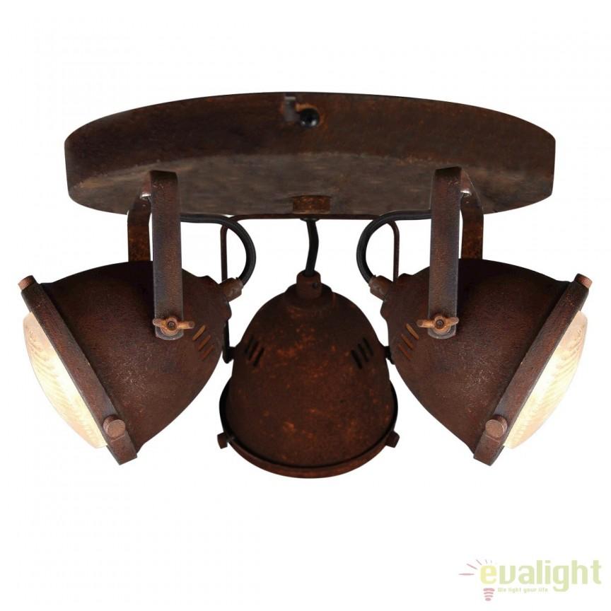 Plafoniera design Industrial GU10 LED CARMEN ruginiu G55434/55 BL, Plafoniere, Spots, Corpuri de iluminat, lustre, aplice, veioze, lampadare, plafoniere. Mobilier si decoratiuni, oglinzi, scaune, fotolii. Oferte speciale iluminat interior si exterior. Livram in toata tara.  a