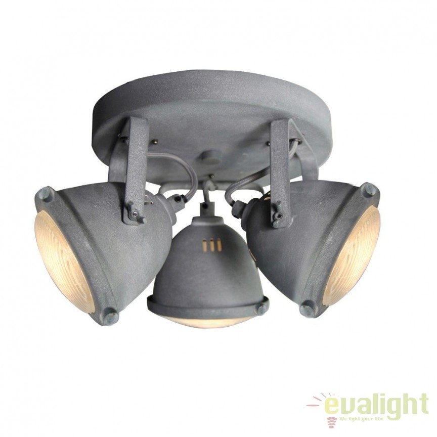 Plafoniera design Industrial GU10 LED CARMEN gri ciment G55434/70 BL, Spoturi - iluminat - cu 3 spoturi, Corpuri de iluminat, lustre, aplice, veioze, lampadare, plafoniere. Mobilier si decoratiuni, oglinzi, scaune, fotolii. Oferte speciale iluminat interior si exterior. Livram in toata tara.  a