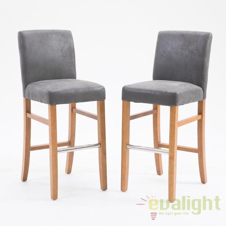 Set de 2 scaune de bar cu tapiterie din microfibra Valentino, gri vintage A-38569 VC, MOBILA SI DECORATIUNI , Corpuri de iluminat, lustre, aplice, veioze, lampadare, plafoniere. Mobilier si decoratiuni, oglinzi, scaune, fotolii. Oferte speciale iluminat interior si exterior. Livram in toata tara.  a