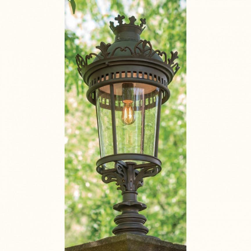 Stalp exterior lumina piedestrala design clasic in stil Empire din fier forjat, inaltime 145cm, AL 6562, ILUMINAT FIER FORJAT DE LUX ,  a