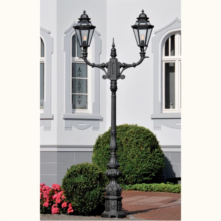 Stalp iluminat exterior din fier forjat, inaltime 335cm, AL 6721, ILUMINAT FIER FORJAT DE LUX ,  a