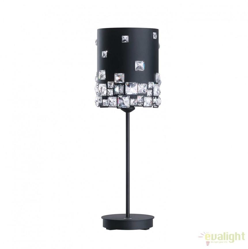 Veioza design LUX cristal Swarovski Mosaix SMX160, negru A9950NR700299B, Veioze Cristal, Corpuri de iluminat, lustre, aplice, veioze, lampadare, plafoniere. Mobilier si decoratiuni, oglinzi, scaune, fotolii. Oferte speciale iluminat interior si exterior. Livram in toata tara.  a