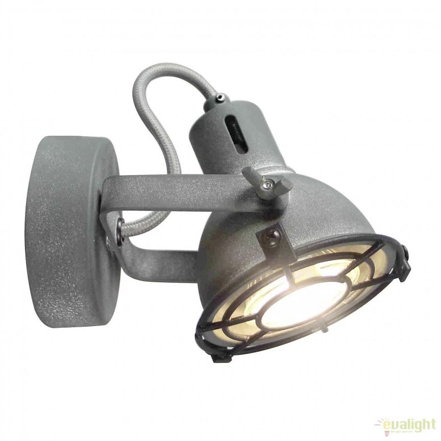 Aplica de perete LED stil industrial Jesper gri G54310/70 BL, Spoturi - iluminat - cu 1 spot, Corpuri de iluminat, lustre, aplice, veioze, lampadare, plafoniere. Mobilier si decoratiuni, oglinzi, scaune, fotolii. Oferte speciale iluminat interior si exterior. Livram in toata tara.  a