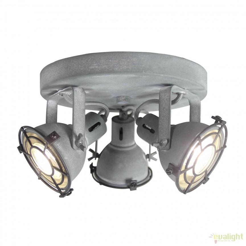 Plafoniera LED stil industrial Jesper 3 gri G54334/70 BL, Spoturi - iluminat - cu 3 spoturi, Corpuri de iluminat, lustre, aplice, veioze, lampadare, plafoniere. Mobilier si decoratiuni, oglinzi, scaune, fotolii. Oferte speciale iluminat interior si exterior. Livram in toata tara.  a