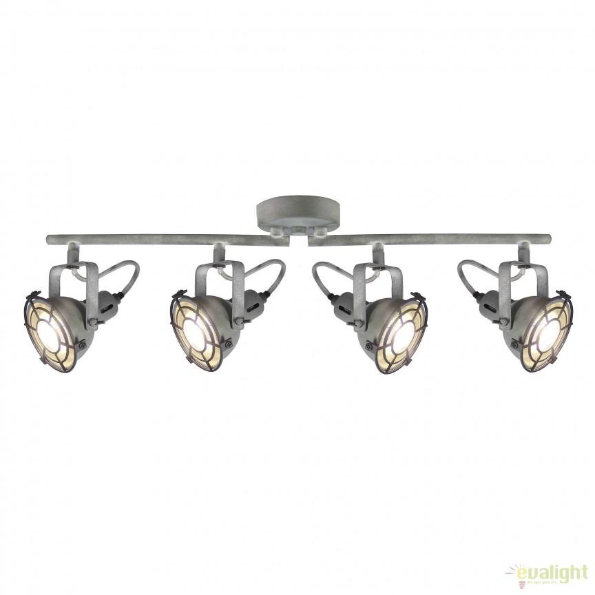 Plafoniera LED stil industrial Jesper 4 gri G54332/70 BL, Spoturi - iluminat - cu 4 spoturi, Corpuri de iluminat, lustre, aplice, veioze, lampadare, plafoniere. Mobilier si decoratiuni, oglinzi, scaune, fotolii. Oferte speciale iluminat interior si exterior. Livram in toata tara.  a