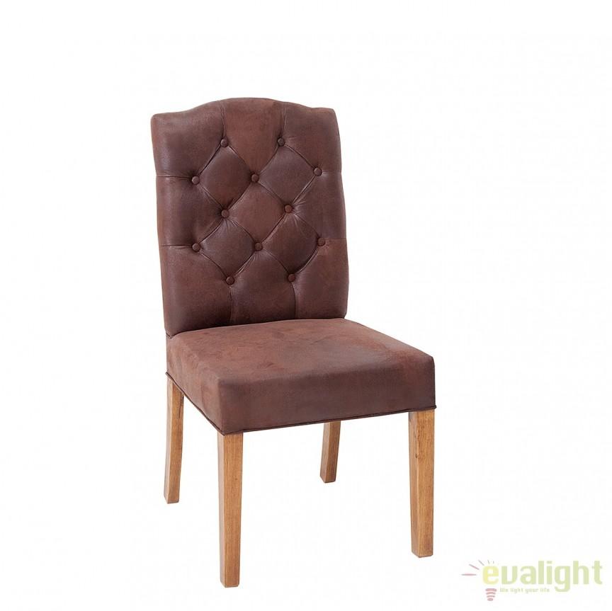 Set de 2 scaune elegante cu tapiterie din microfibra Castle maro cafeniu A-37877 VC, Seturi scaune dining, scaune HoReCa, Corpuri de iluminat, lustre, aplice, veioze, lampadare, plafoniere. Mobilier si decoratiuni, oglinzi, scaune, fotolii. Oferte speciale iluminat interior si exterior. Livram in toata tara.  a